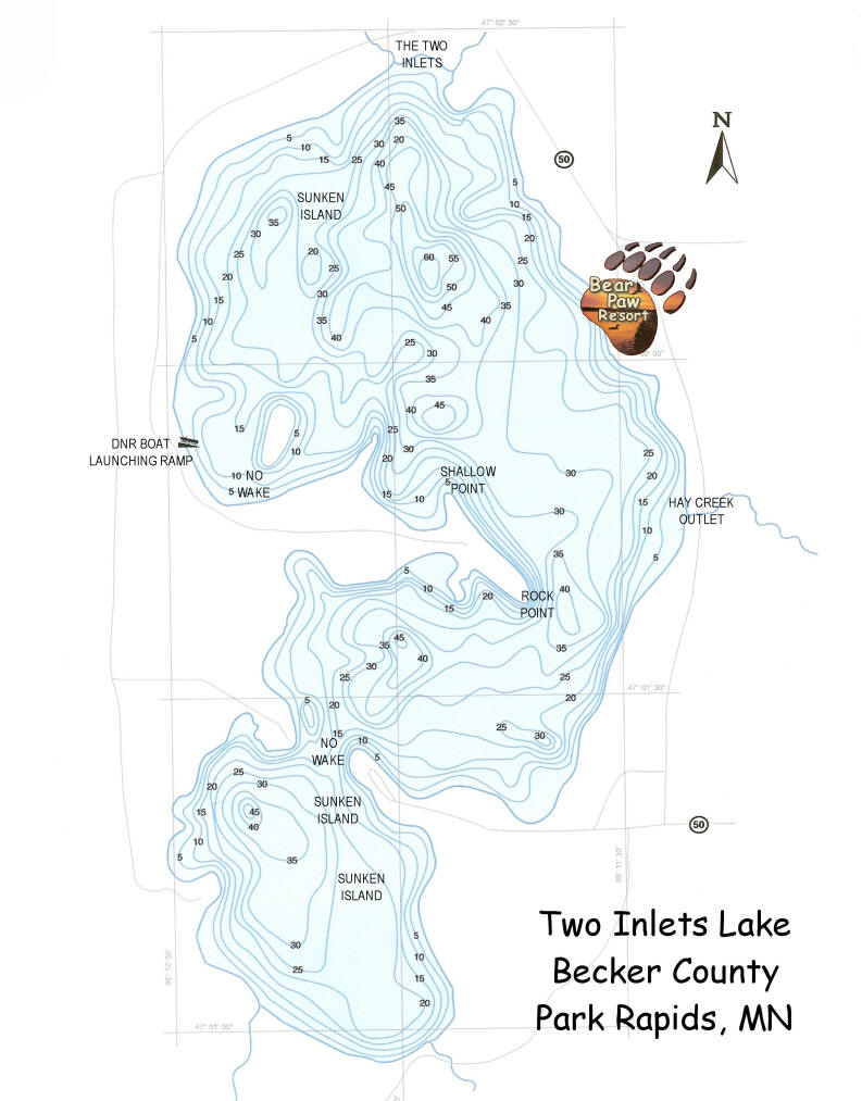 Two inlets lake map